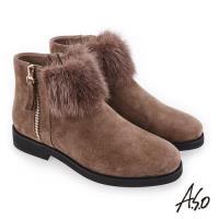A.S.O 夢幻主義 異材質拼接毛球裝飾靴-灰褐