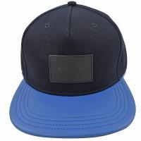 COACH 34718 方塊壓印 LOGO 撞色棉質棒球帽.深藍/藍
