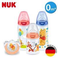 德國NUK-迪士尼寬口徑PP奶瓶2大1小+安睡型矽膠安撫奶嘴-0m+(顏色圖案隨機出貨)