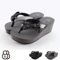 【88%】涼拖鞋-MIT台灣製 金蔥水鑽鞋面 跟高6.5cm 後3cm 夾腳楔型鞋 人字拖鞋