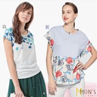 MONS熱銷千件棉麻精品上衣 (白色/藍色2選1 )M-XXL
