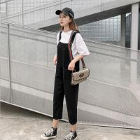 【KVOLL】時尚個性雙口袋黑吊帶牛仔長褲XL-5XL
