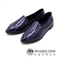 WALKING ZONE 尖頭亮面漆皮淺口工作鞋 女鞋-藍(另有黑)
