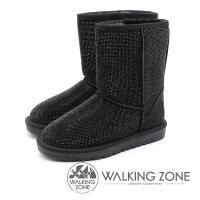 WALKING ZONE 滿版水鑽內鋪毛雪靴 女鞋 - 黑(另有灰)