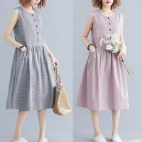 韓國K.W. (預購) 特惠款夏日甜心格紋棉麻洋裝