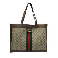 【GUCCI】Ophidia系列GG購物袋(547947-棕)