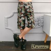 【Dreamming】街頭潑畫迷彩休閒側袋工作短褲(綠褐)