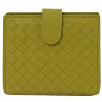 BOTTEGA VENETA 121059 編織小羊皮扣式中夾.黃綠