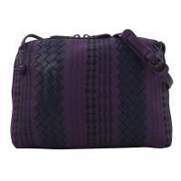 BOTTEGA VENETA 245354 部落風編織皮革斜背小方包.紫