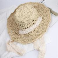 【米蘭精品】草帽遮陽帽-鏤空綁帶蕾絲可摺疊女帽子2色73vq12