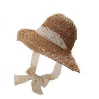 【米蘭精品】草帽遮陽帽-鏤空蕾絲綁帶可摺疊女帽子4款73vq27