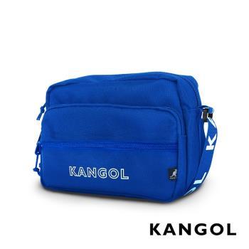 KANGOL LIBERTY系列 韓版潮流LOGO背帶橫式側背包-藍 KG1192