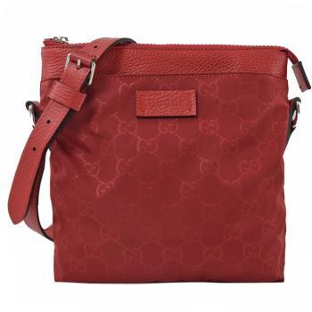 GUCCI 510339 經典雙G 緹花緞面尼龍皮革邊斜背包.紅
