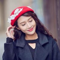 【米蘭精品】貝雷帽毛呢帽秋冬白色花朵裝飾女帽子73vt32