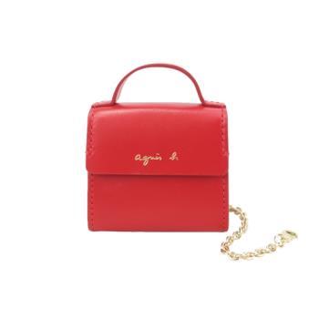 agnes b.手提包造型鑰匙圈吊飾-紅