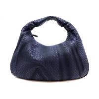 【BOTTEGA VENETA】經典編織縫線小牛皮單把肩背包 (115654-深藍)