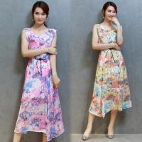 韓國KW 現貨夏季修身顯瘦印花無袖洋裝