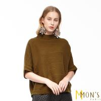 MONS一字寬立領緹花造型針織羊毛上衣