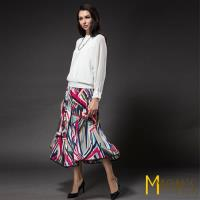MONS幾何彩色圖壓褶長裙