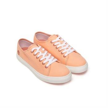 Timberland女款淺粉橘帆布休閒鞋(A1YQZT49)