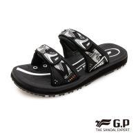 G.P 女款簡約織帶風格雙帶拖鞋G0573W-白黑色(SIZE:36-39 共三色)