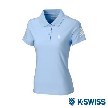 K-SWISS PF RE Melange Polo排汗POLO衫-女-水藍