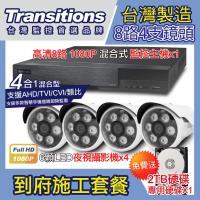 全視線 監控施工套餐-8路1080P主機+4支紅外線攝影機+2T硬碟(台灣製造)