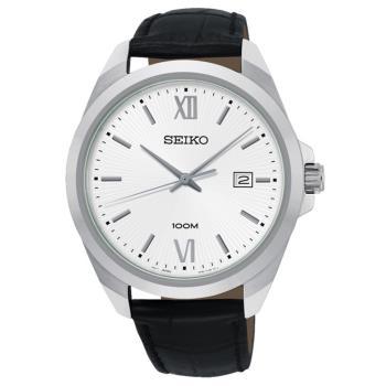 SEIKO 精工 CS系列簡約大三針時尚手錶/銀x黑/42mm(6N42-00H0C/SUR283P1)
