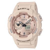 【CASIO 卡西歐】BABY-優雅女士手錶-粉紅米白色系(BGA-230SA-4A)