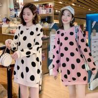 【KVOLL】韓版波點衛衣顯瘦中長款連衣裙M-4XL(共二色)