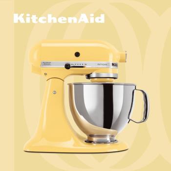 KitchenAid 桌上型攪拌機(抬頭型)5Q(4.8L)奶油黃 送5Q陶瓷攪拌盆: 金色年華及料理工具組