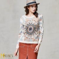 MONS 貴族名品設計立體精繡圖騰羊絨上衣