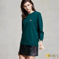MONS 造型金飾點綴都會線條羊毛針織上衣