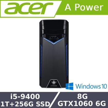 Acer宏碁 T200 電競桌上型電腦 i5-9400/8G/1T+256G SSD/GTX1060/500W/W10/DVD光碟機