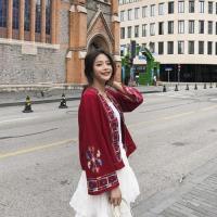 【維拉森林】異國民族風漢服棉麻刺繡開衫外套-FREE(共三色)