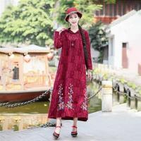 【維拉森林】寬鬆刺繡緹花連帽民族風連衣裙M-2XL(共五色)