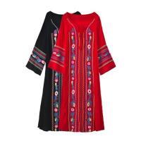 【維拉森林】波西米亞民族風刺繡花朵流蘇連衣長裙S-XL(共二色)