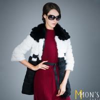 MONS藍狐毛領時尚精品皮草大衣