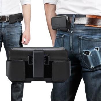 Achamber for 三星 Samsung Galaxy Note10+ 真皮型男旋轉腰夾腰掛橫式皮套