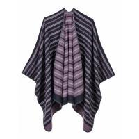 【米蘭 】披肩仿羊絨斗蓬-波浪條紋雙面包邊女圍巾5色73we35