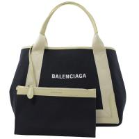 BALENCIAGA 巴黎世家 339933 NAVY 厚帆布皮飾邊手提托特包.深藍