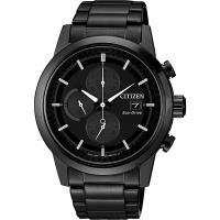 CITIZEN 星辰 Eco-Drive 光動能現代計時碼錶-黑/ 43mm CA0615-59F