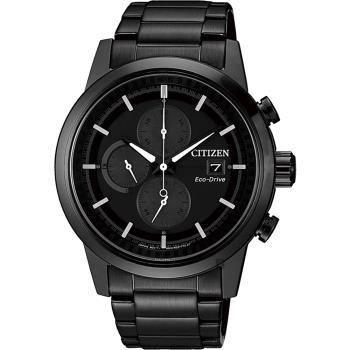 CITIZEN 星辰 Eco-Drive 光動能現代計時碼錶-黑/43mm CA0615-59F