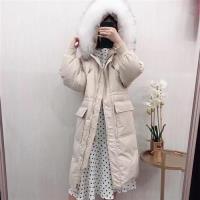 【米蘭精品】羽絨夾克連帽外套-貉子毛領抽繩大口袋長款女外套4色73wc15