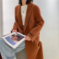 【米蘭精品】毛呢大衣羊毛外套-藍色綁帶寬鬆長版女外套73wb41