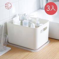 日本霜山 無印風霧面附蓋把手收納盒-L-3入
