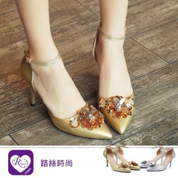 【iRurus 路絲時尚】韓系氣質花朵繫踝低跟涼鞋/2色/35-42碼 (RX1121-X99)現+預
