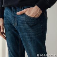 GIORDANO 男裝基本款中腰錐形牛仔褲-96 中藍