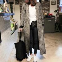 【米蘭精品】毛呢外套長版大衣-經典格子千鳥紋繭型女外套73wd30
