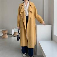 【米蘭精品】毛呢大衣羊毛外套-娃娃領寬鬆綁帶長版女外套4色73wb40